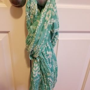 Turquoise floral lightweight scarf